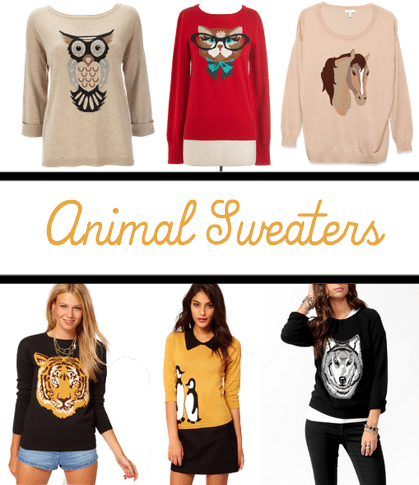 Whether it\u0027s a fox, cat, dog or even a swan, there is a sweater out there  with your favorite critter on it. Here are some of my favorites. animal  sweaters