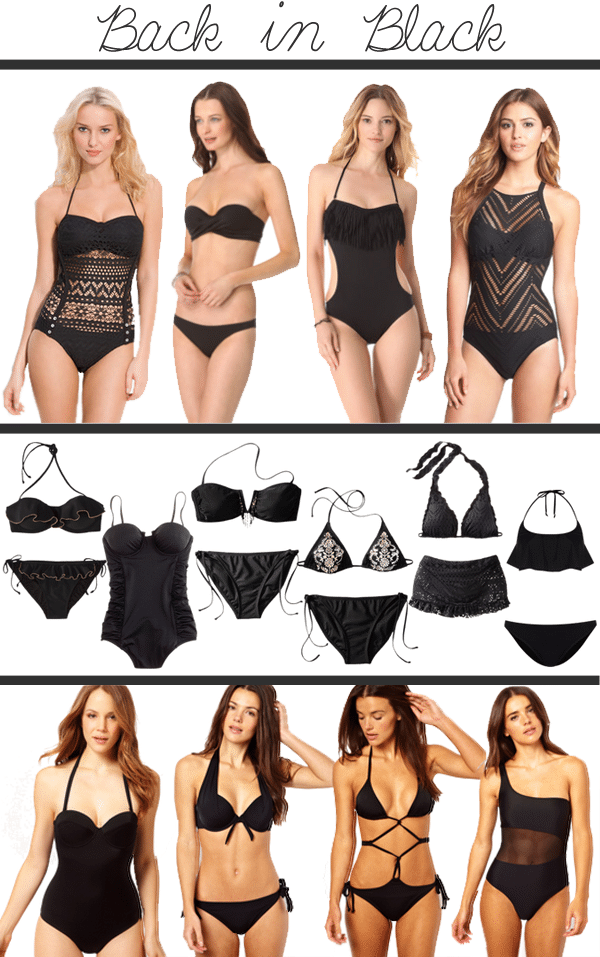 3411dbf129 They say black is slimming, so why not wear the color to the one place you  want to look skinnier; the beach? black swimsuits. Top Row: Robin Piccone '  ...