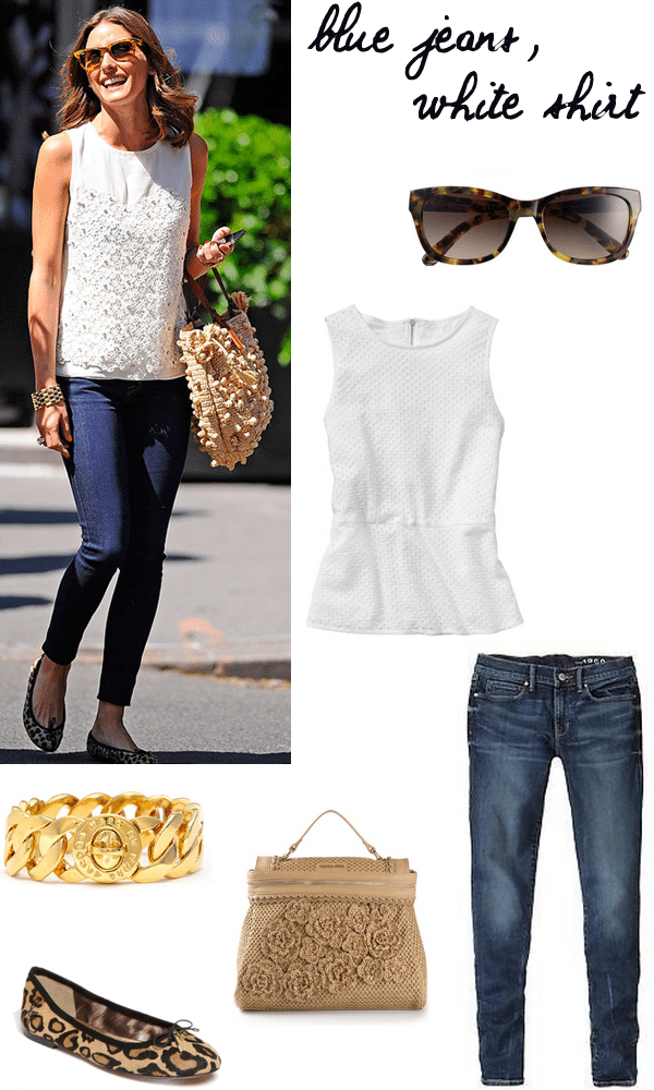 olivia palermo white top blue jeans