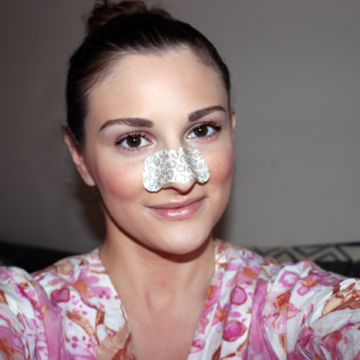 girl wearing pore strips