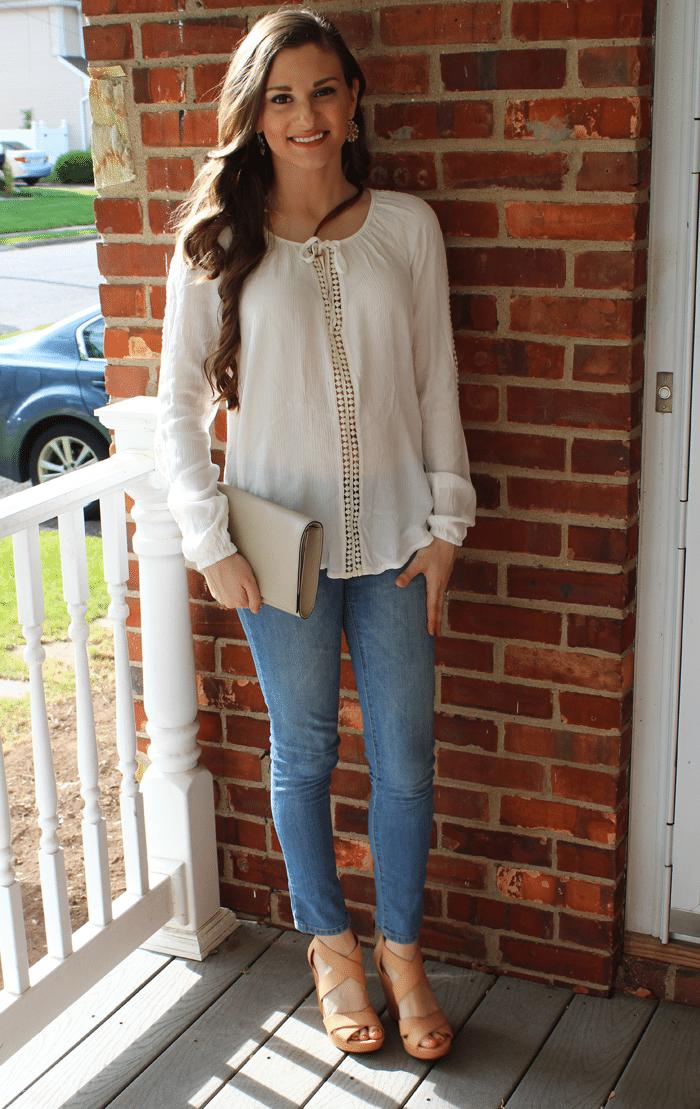 white hippie blouse
